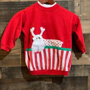 ❤️3/$20 Vintage Red Christmas Reindeer Sweatshirt